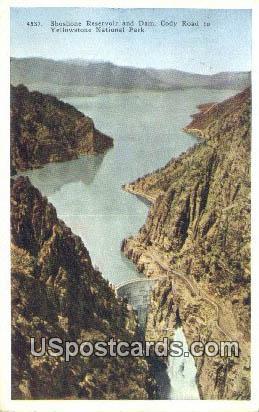 Shoshone Reservoir & Dam - Yellowstone National Park, Wyoming WY Postcard