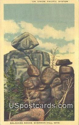 Balanced Rock, Union Pacific System - Sherman Hill, Wyoming WY Postcard