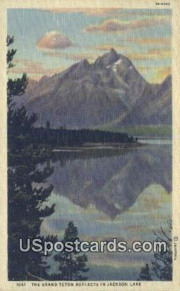 Grand Teton - Jackson Lake, Wyoming WY Postcard