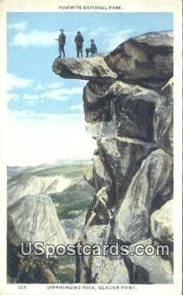 Overhanging Rock, Glacier Point - Yosemite National Park, Wyoming WY Postcard