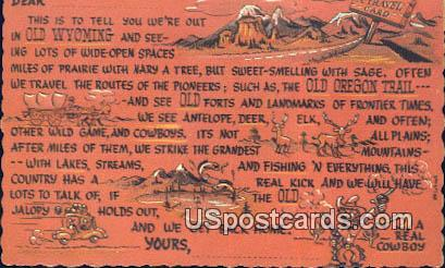 Old Wyoming, WY Postcard       ;      Old Wyoming, Wyoming - Old Wyoming Postcards