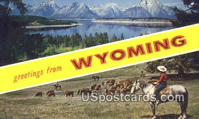 Greetings from, WY Postcard       ;      Greetings from, Wyoming