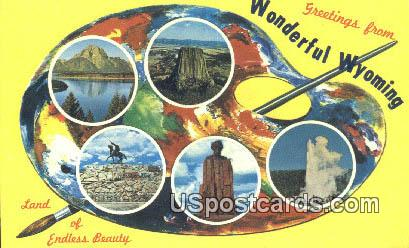 Greetings from, Wyoming Postcard      ;      Greetings from, WY