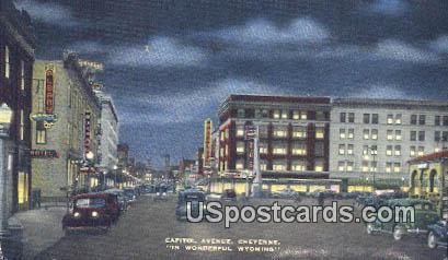 Capitol Avenue - Cheyenne, Wyoming WY Postcard