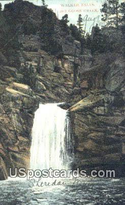 Walkker Falls - Big Goose Creek, Wyoming WY Postcard