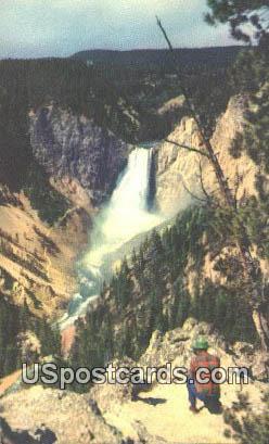 Lower Falls - Yellowstone Park, Wyoming WY Postcard
