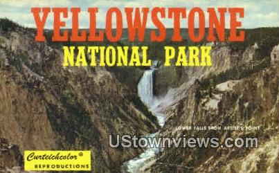Lower Falls, Artist Point - Yellowstone National Park, Wyoming WY Postcard