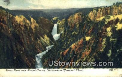 Great Falls - Yellowstone National Park, Wyoming WY Postcard