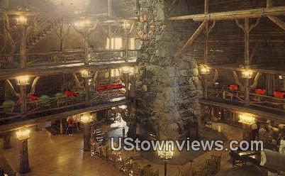 Old Faithful Inn Lobby - Yellowstone National Park, Wyoming WY Postcard