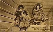 Eskimo Children - St Michael, Alaska AK Postcard