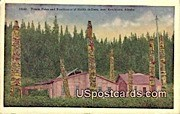 Totem Poles, Residences of Haida Indians - Ketchikan, Alaska AK Postcard