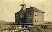 Real Photo - School Building - Grandview, Washington WA Postcard