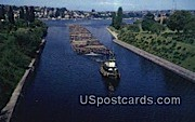 Raft of Logs - Lake Washington Ship Canal Postcards, Washington WA Postcard
