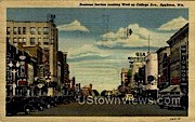 Business Section, College Avenue - Appleton, Wisconsin WI Postcard