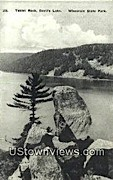 Tablet Rock, Devil's Lake - Wisconsin State Park Postcards, Wisconsin WI Postcard