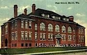 High School, Merrill - Wisconsin WI Postcard