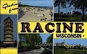 Greetings From - Racine, Wisconsin WI Postcard