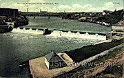 Dam at Milwaukee River - Wisconsin WI Postcard