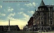 Monument Square Main St. - Racine, Wisconsin WI Postcard