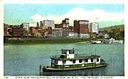 Water Front & Business Section - Wheeling, West Virginia WV Postcard