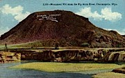 Monument Hill from Big Horn River - Thermopolis, Wyoming WY Postcard