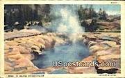 Oblong Geyser Crater - Yellowstone Park, Wyoming WY Postcard