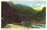 Highway, Wind River Canon - Thermopolis, Wyoming WY Postcard