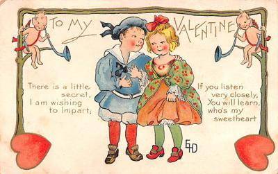 val200831 - Valentines Day Post Card Old Vintage Antique Postcard