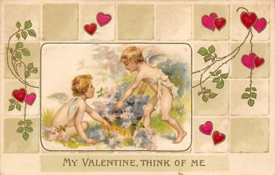 val310145 - John Winsch Publishing Silk Material Antique Valentines Day Postcard