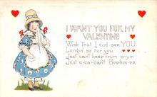 val200023 - Valentines Day Post Card Old Vintage Antique Postcard