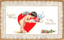 val200213 - Valentines Day Post Card Old Vintage Antique Postcard