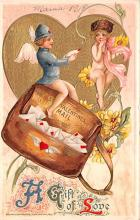 val200217 - Valentines Day Post Card Old Vintage Antique Postcard