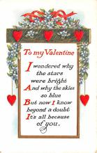 val200285 - Valentines Day Post Card Old Vintage Antique Postcard