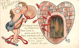 val200827 - Valentines Day Post Card Old Vintage Antique Postcard
