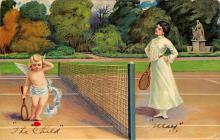 val300391 - Tennis Valentines Day Postcard