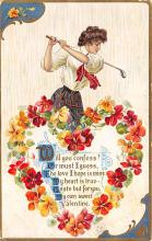 val300517 - Golf, Valentines Day Postcard