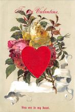 val300523 - Silk Material Heart Valentines Day Postcard