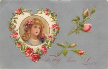 val310115 - John Winsch Publishing Silk Material Antique Valentines Day Postcard