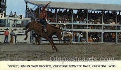 wes000339 - Riding Wild Bronco Western Cowboy, Cowgirl Postcard Postcards