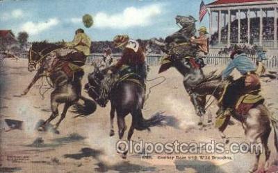 wes000440 - Cowboy Race with Wild Broncos Western Cowboy, Cowgirl Postcard Postcards