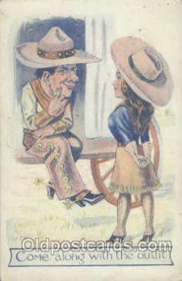 wes001019 - Western Cowgirl Postcard Postcards