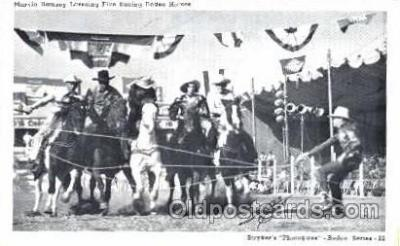 wes001284 - Marvin Ramsey Lassoing Five Racing Rodeo Horses, Western, Cowboy, Cowgirl, Postcard Postcards