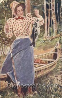 wis001029 - Fishing Woman in Sports Postcard Postcards