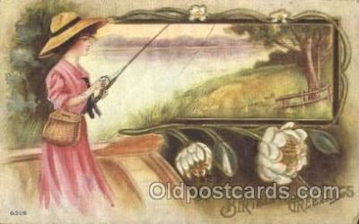 wis001044 - Fishing Woman in Sports Postcard Postcards