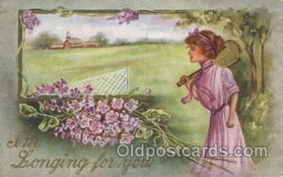 wis001052 - Tennis Woman in Sports Postcard Postcards