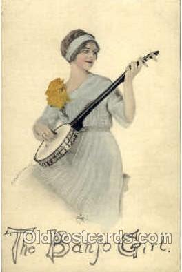 wom001046 - The Banjo Girl Woman Postcard Postcards