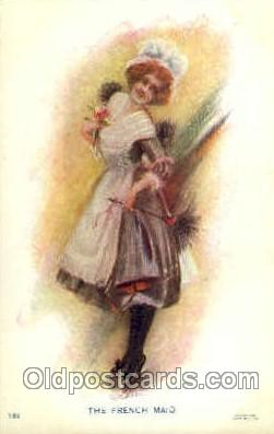wom001088 - The French maid,  Woman Postcard Postcards