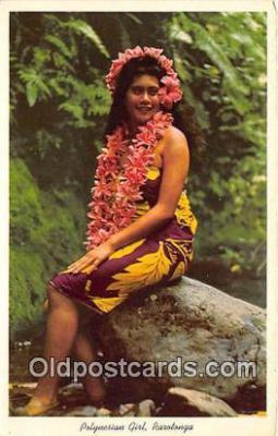 wom001586 - Polynesian Girl Raratanga Postcard Post Card