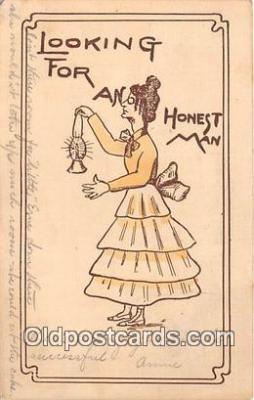 wom001652 - Looking For AN Honest Man  Postcard Post Card