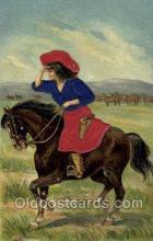 wes000010 - Silk Western Cowgirl Old Vintage Antique Postcard Post Cards